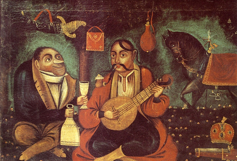 Cossack Mamay being tempted to drink by the Western-looking Satan. Ukrainian folk art 1st half of the 19th century. Linen, oil. 67х95cm. National Art Museum of Ukraine
